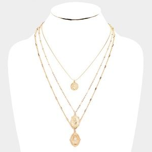 Gold Three MultiLayered Religious Pendant Chain